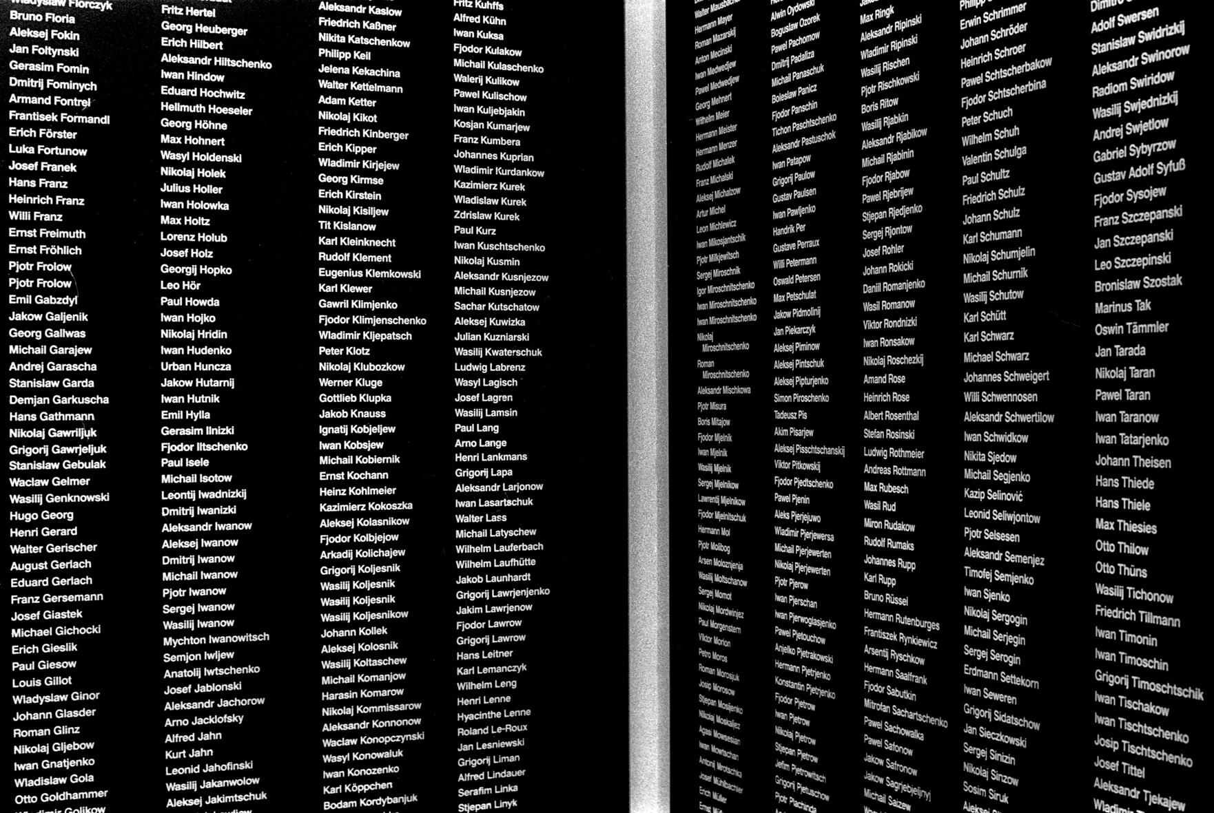 Namen von Nazi-Opfern, in der Gedenkstätte
